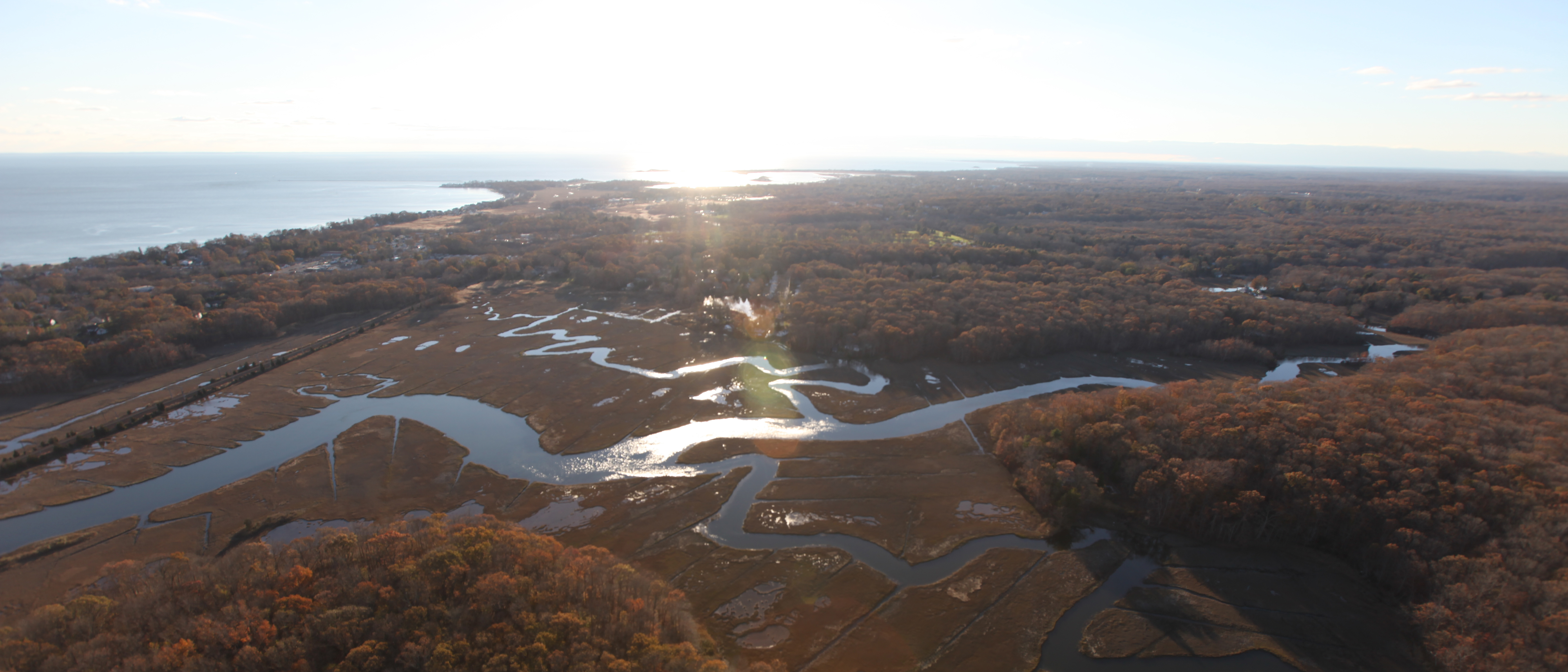Aerial view of Stewart B. McKinney National Wildlife Refuge where NOAA will lead restoration of marsh habitat.