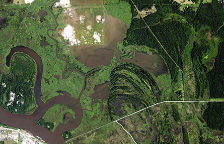 Aerial view of the Dupont Beaumont site and surrounding wetlands (Credit: NOAA).