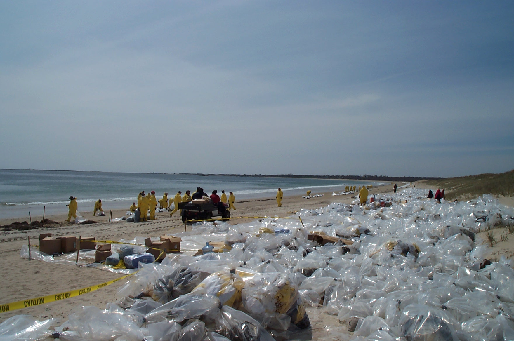 Cleanup workers collect oiled debris from sand beach, South Dartmouth, MA.