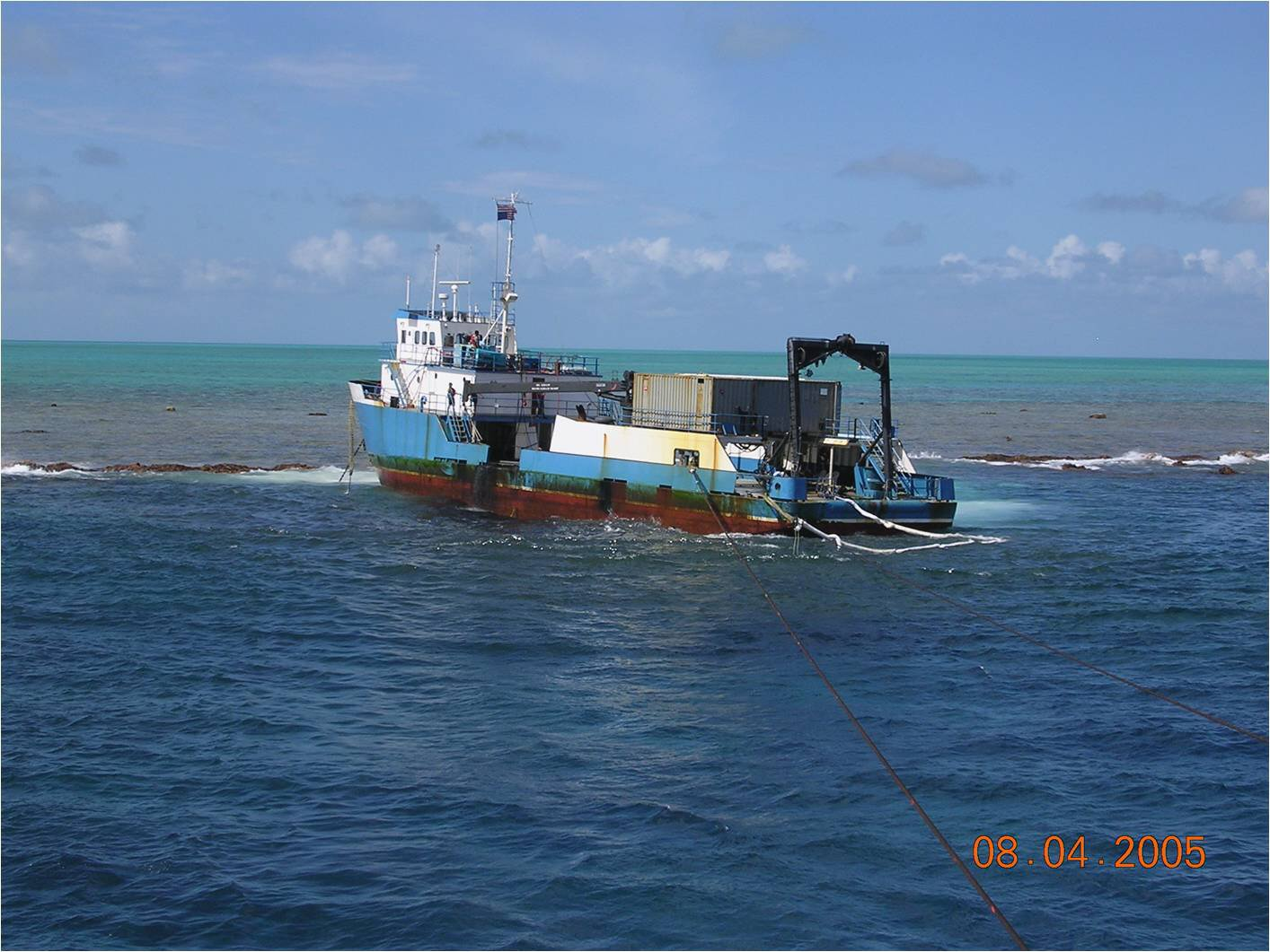 M/V Casitas aground on atoll.