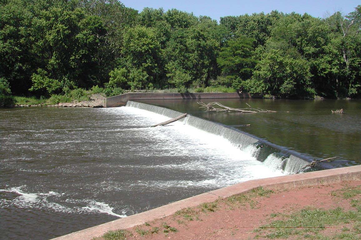 Cornell_Dubilier Headgates Dam shown from downstream facing west bank