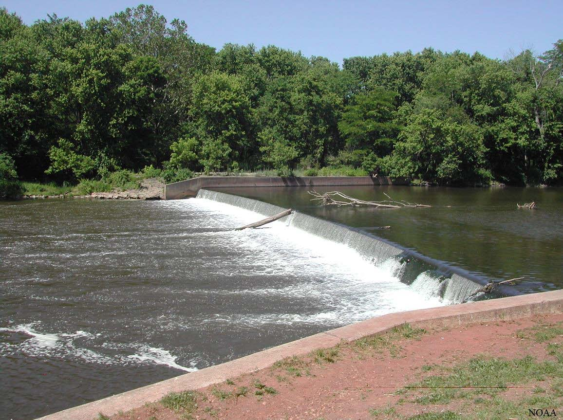 Headgates Dam shown from downstream facing west bank