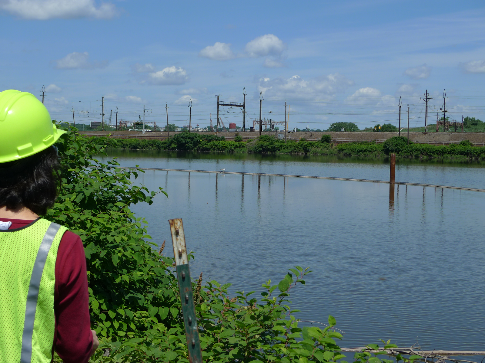 Woman in a vest and hard hat stands at the edge of a river with industrial site in background.