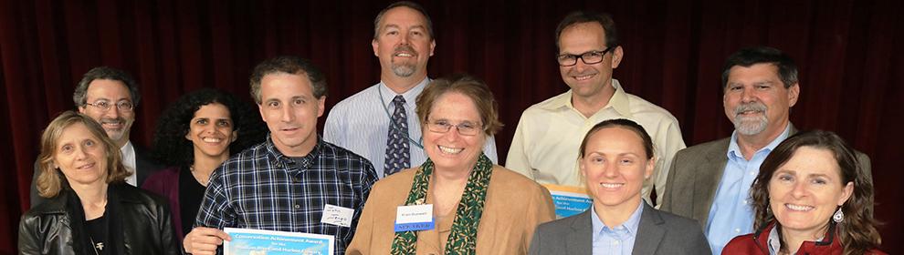 Front row left to right: Lisa Rosman (NOAA), John Jengo (STANTEC), Fran Dunwell (NYSDEC), Cathy Marion (USFWS), Melissa Foster (USFWS); Back row left to right: Rob Pirani (NY/NJ HEP), Reyhan Mehran (NOAA), David Bean (NJDEP), Carl Alderson (NOAA), Mark Walters (NJDEP)