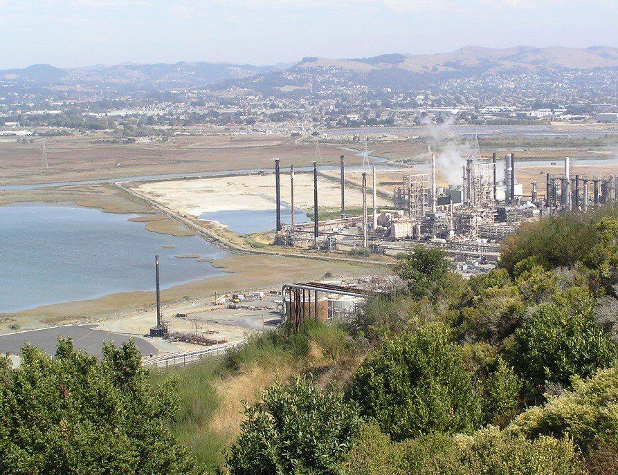 Southern Castro Cove and Chevron Richmond Refinery. Wildcat Creek entering Castro Cove in the background.