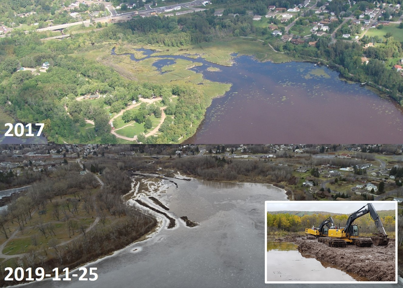 Split image of the waterway before restoration and after, where invasive plants have been removed and the waterway cleared.