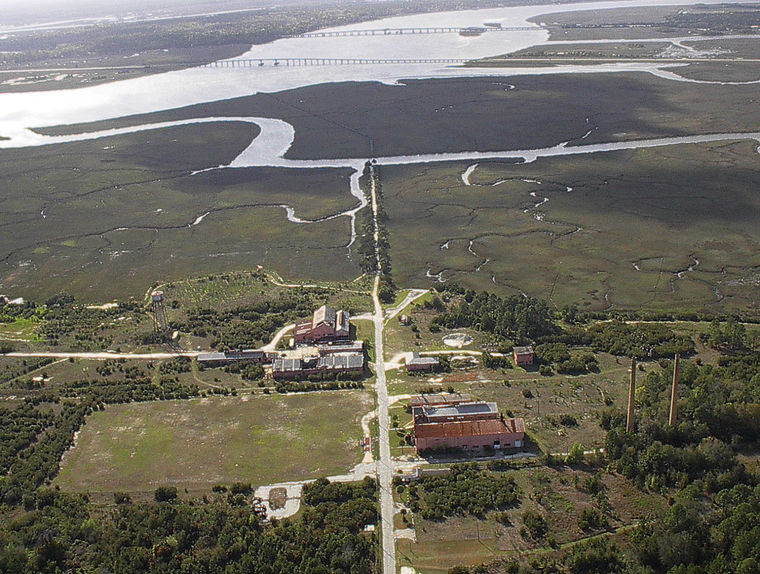 Aerial view of LCP Chemical site and upland marsh along the Turtle River.