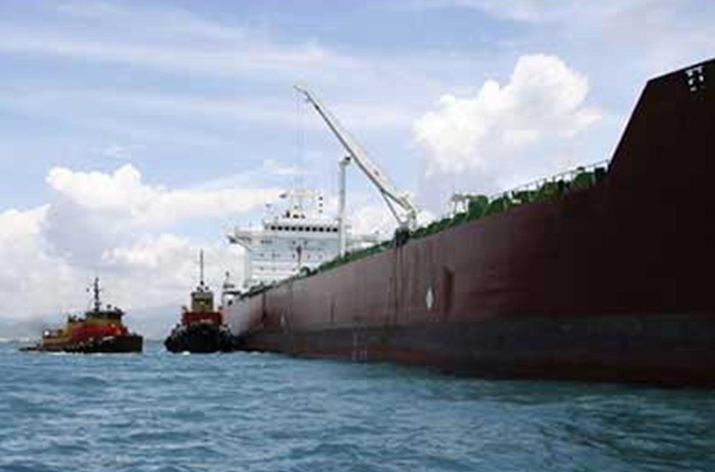 T/V Margara aground with tugs alongside.