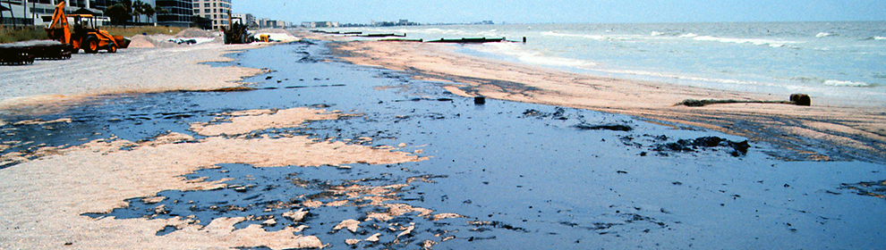 Oiled beach north of Blind Pass, Treasure Island, Florida on August 15, 1993.