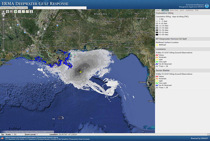 ERMA Deepwater Gulf Response contains a wide array of publicly available data related to the 2010 Deepwater Horizon/BP oil spill in the Gulf of Mexico.