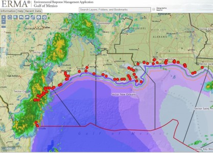 The ERMA online mapping tool shows both static and real-time data, such as ship locations, weather, and ocean currents, in an easy-to-use format.