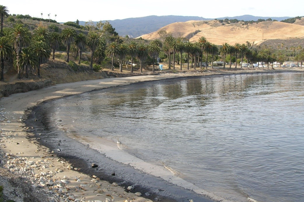 Oil lines the shore  on Refugio Beach after a 2015 oil spill, Santa Barbara, CA