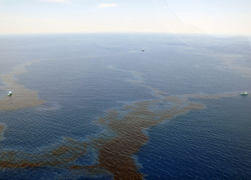 Dark oil photographed during a Coast Guard overflight on May 12, 2016.