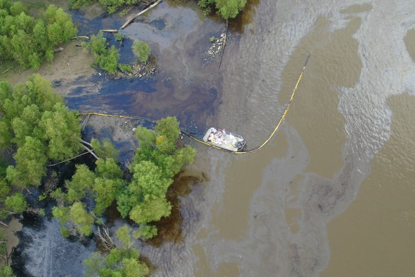 Aerial photo of batture with oiling from Barge DM932 Oil Spill