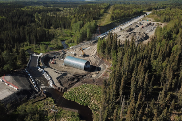 Aerial view of a culvert replacement on Crooked Creek on Alaska's Kenai Peninsula