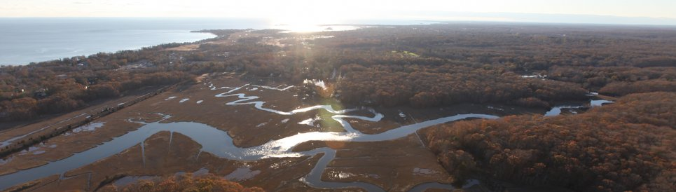 An aerial view of a meandering marsh channel at McKinney Wildlife Refuge. Credit USFWS