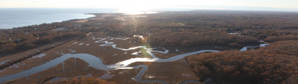 Aerial view of Stewart B. McKinney National Wildlife Refuge where NOAA will lead restoration of marsh habitat.
