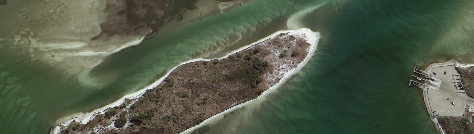 Aerial view of Boggy Point, and Bird and Robinson Islands in Perdido Bay, Alabama.