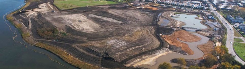 Aerial view of the Cramer Hill Park habitat and recreation restoration site. Photo: State of New Jersey