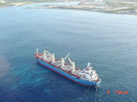 The vessel M/V Cape Flattery aground at Barbers Point, Oahu, HI.