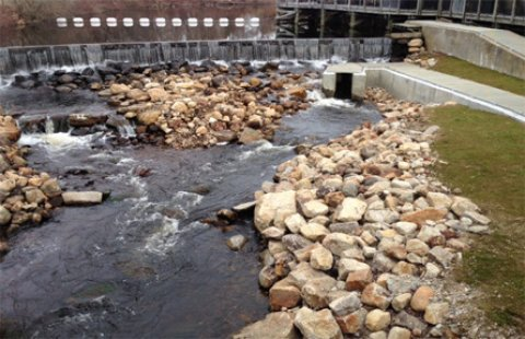 A fishway, or fish ladder, was constructed as part of the restoration effort to help herring travel upstream.