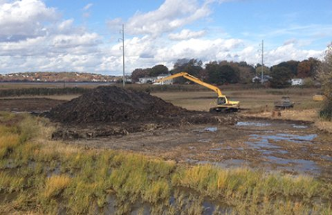 Oak Island wetland restoration under construction in late October and early November of 2015.