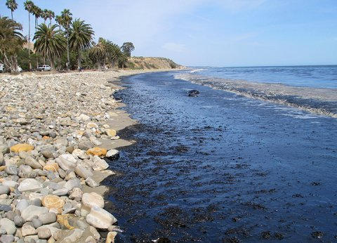 Oil on the beach at Refugio State Park in Santa Barbara, California, on May 19, 2015. (U.S. Coast Guard)