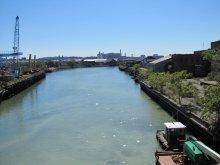 Gowanus Canal as it enters Gowanus Bay.