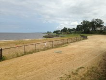 The beach and seawall area within Old Bridge Waterfront Park is part of the Raritan Bay Slag site.