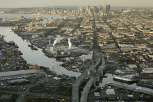 Aerial photograph of the Lower Duwamish River. Harbor Island and Elliott Bay are shown in the top left and downtown Seattle in the top center of the photograph.