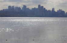 Quanta tidal flat looking across the Hudson River to Manhattan Island, NY. Contamination lies within and below the tidal flat.