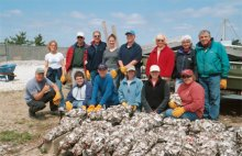 Voluteers created hundreds of shell bags used for oyster larvae settlements and oyster bed construction.