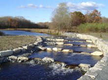 Nature-like fishway immediately after installation at the former Acushnet Sawmill Dam