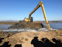 As part of the restoration the first of four breaches of tidal levees separating Cullinan Ranch from the tide waters of San Francisco Bay.