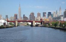Newtown Creek as it enters the East River.