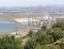 Southern Castro Cove and Chevron Richmond Refinery. Wildcat Creek entering Castro Cove in the background.