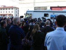 This photo is from a press conference at Fort Mason following the Cosco Busan oil spill. Fort Mason was the Incident Command Post during the oil spill response.