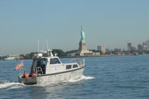 A hydrographic survey launch from the NOAA Ship Thomas Jefferson in New York Harbor. Image credit:NOAA