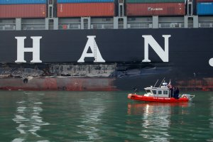 An approximate 100-foot gash in the hull of the vessel resulted in a 53,000 gallon fuel oil spill.