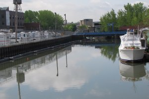 Upper Gowanus Canal at Carroll Street where some of the highest sediment contamination is found.