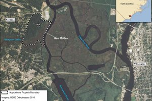 Aerial map illustration showing the location of the former Kerr-McKee  wood-treatment processing plant in Navassa, NC.
