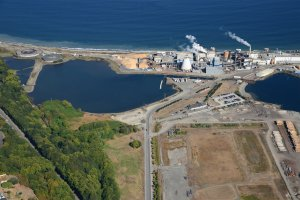An aerial view of an industrial facility on the coast of Western Port Angeles Harbor.