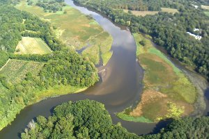 An aerial view of a section of the Kalamazoo River. Image: EPA