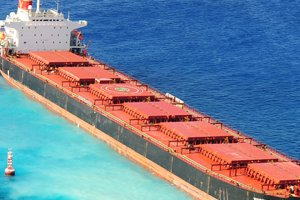 The 734-foot bulk carrier M/V VogeTrader after it ran aground near Oahu, on February 5, 2010.