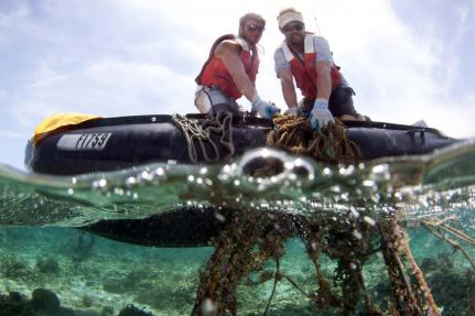 Two members of the NOAA dive team remove derelict fishing gear from a reef at Midway Atoll during the 2013 marine debris removal cruise.